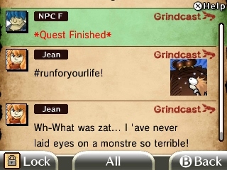 The Grindcast is basically an in-game Twitter feed used to follow NPC's during their quests.